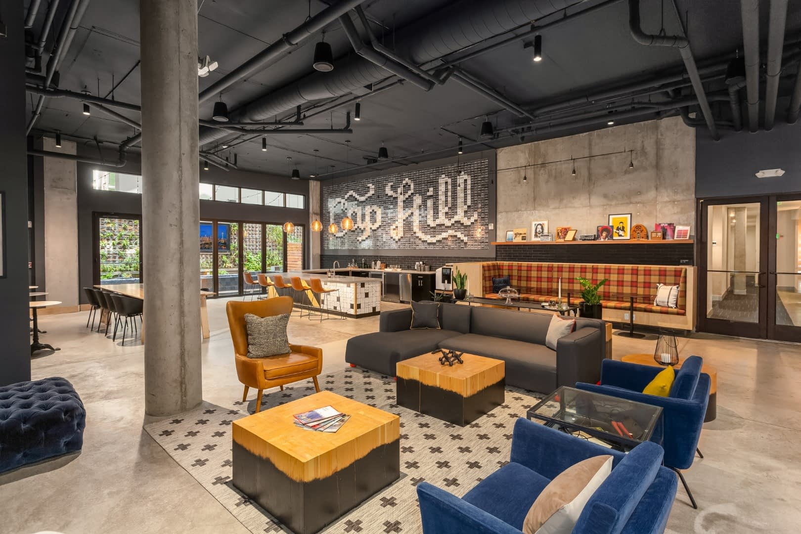 The social lounge at Jack apartments has plenty of seating and decorations