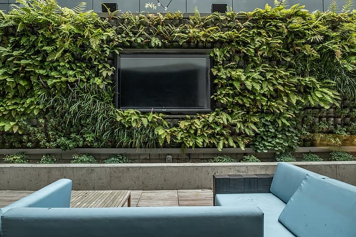 Outdoor lounge for watching games, complete with a living wall.